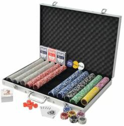 vidaXL Set de poker cu 1000 de jetoane cu laser din aluminiu (80185) - izocor