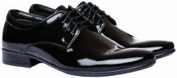 Elite Fashion Fekete Alkalmi Bőr Lakkcipő 44