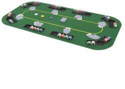 vidaXL Blat masă poker 8 jucători, pliabil în 4, dreptunghiular, verde (80208) - comfy
