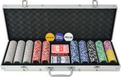 vidaXL Set de poker cu 500 de jetoane cu laser din aluminiu (80184) - comfy