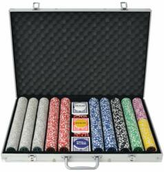 vidaXL Set de poker cu 1000 de jetoane cu laser din aluminiu (80185) - comfy
