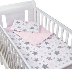 Kidizi Set perna bebelus si plapumioara matlasata 100x75 cm Kidizi Pink Stars (5949221105581)