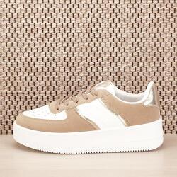 SOFILINE Sneakers alb cu bej Rania (J25BEIGE-38)