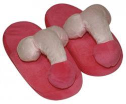 Plüss papucs rózsaszín péniszformájú