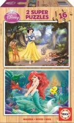 Educa Hófehérke és Ariel 2x16 db-os fa puzzle (15590)