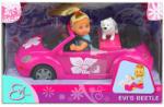 Simba Toys Évi baba sportautóval és kutyával 2