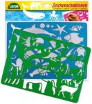 LENA 2db-os rajzolósablon - afrikai és tengeri állatok (65768)
