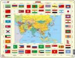 Larsen Ázsia térkép+zászló 70 db-os KL2