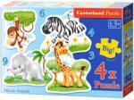 Castorland Afrikai állatok 3, 4, 6 és 9 db-os sziluett puzzle