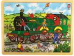 Bigjigs Toys zöld vonat kirakótálca