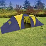 vidaXL Cort pentru camping din poliester, 9 persoane, Albastru/ Galben (90413) Cort