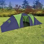 vidaXL Cort pentru camping din poliester, 9 persoane, Albastru/ Verde (90412) Cort