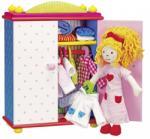 GOKI Öltöztetős játék baba, lány szekrénnyel