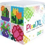 PIXEL XL szett 4 vágható alaplappal 12 XL színnel, virágok (PXL-24103)