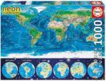 Educa Neon Puzzle - Világtérkép 1000 db-os (16760)