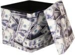 DOLLAR Összehajtható, ülőkés tároló puff dollár mintával - DOLLAR