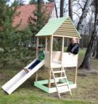Woody ELADÓ - fából készült kerti ház 10.111 WOODY a csúszda és homokozó
