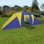 vidaXL Палатка за къмпинг 6 човека, цвят морско син/жълт (90514) Палатка