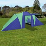 vidaXL Палатка за къмпинг 6 човека, цвят морско син/зелен (90513) Палатка