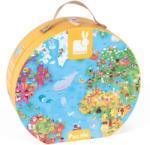 Janod Óriás világtérkép puzzle bőröndben 300 db-os (J02775)