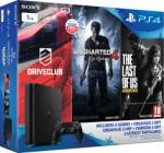 Sony PlayStation 4 Slim Jet Black 1TB (PS4 Slim 1TB) + Driveclub + Uncharted 4 + The Last of Us Játékkonzol