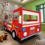 vidaXL Pat copii maşină de pompieri 200 x 90 cm roşu (242096)
