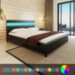 vidaXL LED világítású műbőr kárpitozott fejtámlás ágy 200x160cm