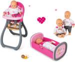Smoby Szett játékbaba Baby Nurse Arany sorozat Smoby 32 cm, etetőszék és bӧlcső játékbabának takaróval 2 éves kortól
