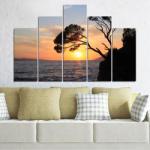 Vivid Home Декоративни панели Vivid Home от 5 части, Море, PVC, 160x100 см, 5-та Форма №0308