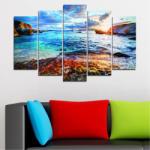 Vivid Home Декоративни панели Vivid Home от 5 части, Море, PVC, 160x100 см, Стандартна форма №0244