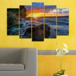 Vivid Home Декоративни панели Vivid Home от 5 части, Природа, PVC, 110x65 см, Стандартна форма №0591