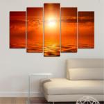Vivid Home Декоративни панели Vivid Home от 5 части, Пейзаж, PVC, 110x65 см, Стандартна форма №0543
