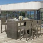 Ferrocom Sunrise műrattan kerti bárszett szürke