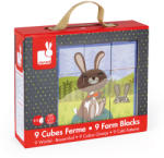 Janod Kocka puzzle 9db-Farm állatok Janod (J02989)