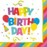 Herlitz Szalvéta 33x33 cm, 20 db/csg, 3 rétegű Happy Birthday