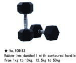 m-tech (H) XDB-6101 Egykezes fix kézisúlyzó, hatszögletű, krómozott, gumborítású 22, 5kg