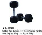 m-tech (H) XDB-6101 Egykezes fix kézisúlyzó, hatszögletű, krómozott, gumborítású 12, 5kg