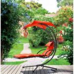 Ferrocom Crescent műrattan kerti függő napozóágy fekete-narancssárga