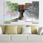 Vivid Home Картини пана Vivid Home от 5 части, Четири сезона, Канава, 160x100 см, 4-та Форма №0723