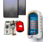 Napcsap 3-4 fő részére síkkollektoros szett: 2 síkkollektor + 150 literes 2 hőcserélős bojler + szivattyú állomás + vezérlés + tágulási tartály (NAPKOLLEKTORSZETT2S150L2HCS-RUT-3502M)