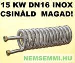 """GRAVIKOL Csináld magad hőcserélő akció! 15 kW DN16 inox gégecsőből 3/4"""" csatlakozóval házilag elkészíthető (15KWINOXDN16-HOCSERELO_HAZILAG)"""