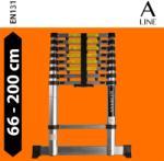 guteleiter 2 m magas, kihúzható létra teleszkópos alumínium létra 60 cm-re összecsukható. Széles támasztólábbal és ujjbecsípődés elleni védelemmel