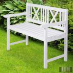 2 személyes klasszikus kerti pad, fehér (10KBRG)