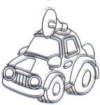 Amos Kifesthető műanyag kép S-es méret - Autó megafonnal (AMOS562345/36)
