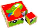 Tooky Toy Járművek fa kocka puzzle (TKC262)