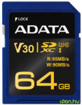 ADATA Premier Pro SDXC 64GB Class 10 UHS-I ASDX64GUI3V30G-R