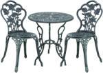 [casa.pro] Bisztró szett - vintage öntöttvas kerti asztal két székkel 60x67cm