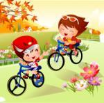 BeKid Tablou canvas Cu bicicleta - 40 x 40 cm