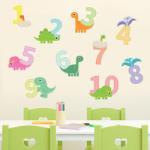 BeKid Stickere perete copii Dyno te invata sa numeri - 94 x 38 cm Decoratiune camera copii