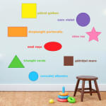 BeKid Stickere perete copii Forme geometrice colorate - 120 x 46 cm Decoratiune camera copii